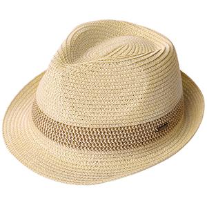 6fc7c3b4e8180f Packable Straw Fedora Panama Sun Summer Beach Hat Cuban Trilby Men ...