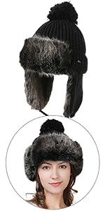 e9aa051b3e9 ... Women Wool Knit Beanie Trapper Faux Fur Flaps Hunting Russian Bomber  Winter Hat Aviator Cap Black ...