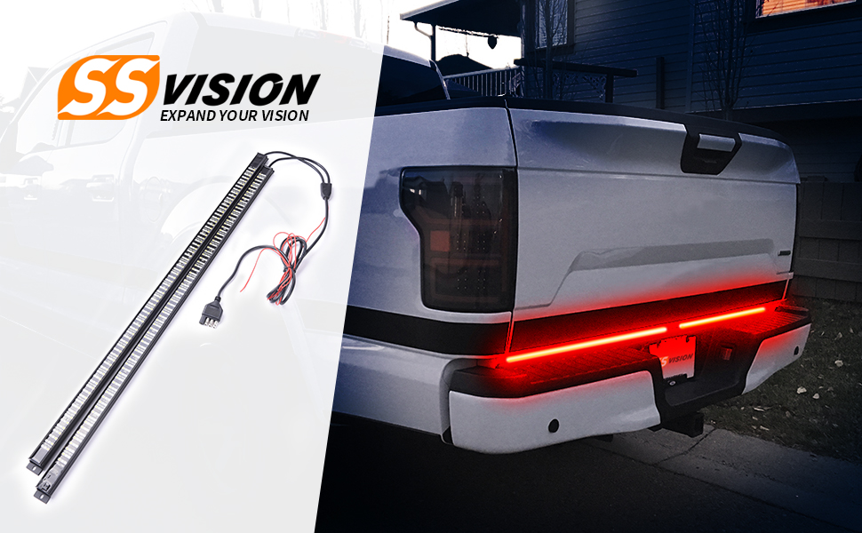 SS VISION 60 Inch Triple Tailgate Light Bar Strip Waterproof with Amber Sequential Turn Signal Red Brake//Running White Reverse Lights for Pickup Trucks Free 4-Way Flat Connector Wire