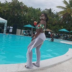 6772c8e2397f2 Doqcey Women s Perspective Sheer Mesh Ruffle Pants Swimsuit Bikini ...