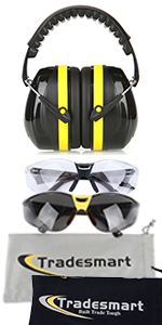 Yellow earmuffs with Clear and Tinted safety glasses and microfiber pouch