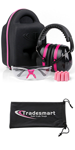 Protective case earmuffs and clear safety glasses with earplugs