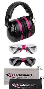 Earmuffs with Clear and Tinted safety glasses and microfiber pouch