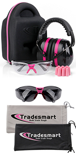 Protective case earmuffs clear and tinted safety glasses earplugs microfiber pouches