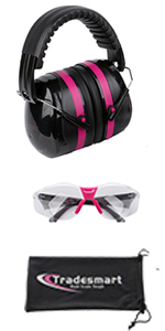 Earmuffs and clear safety glasses with pouch