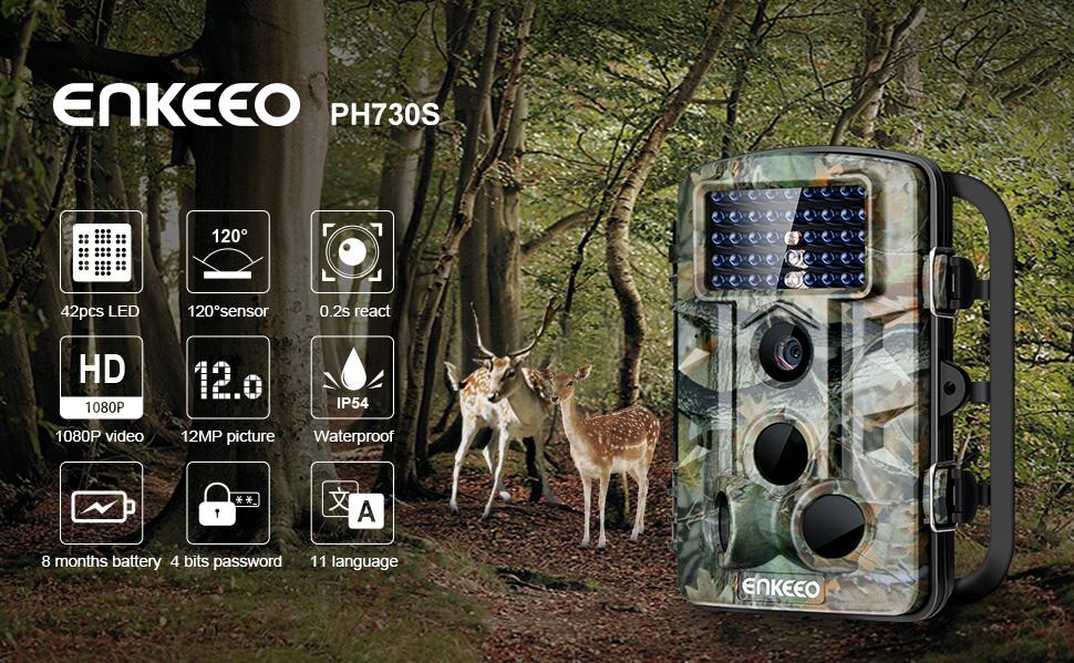 Amazon.com : Enkeeo PH730S Trail Game Camera 1080P 12MP HD ...