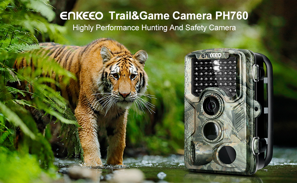 """ENKEEO PH760 Trail Game Camera 16MP 1080P HD Hunting Camera 47pcs 850nm IR Night Vision IP56 Water Resistant with 0.2s Trigger Time 2.4"""" LCD Screen"""