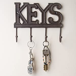 cast iron key holder decorative hooks hanger metal heavy duty letter wall  mount b8d1b3af29