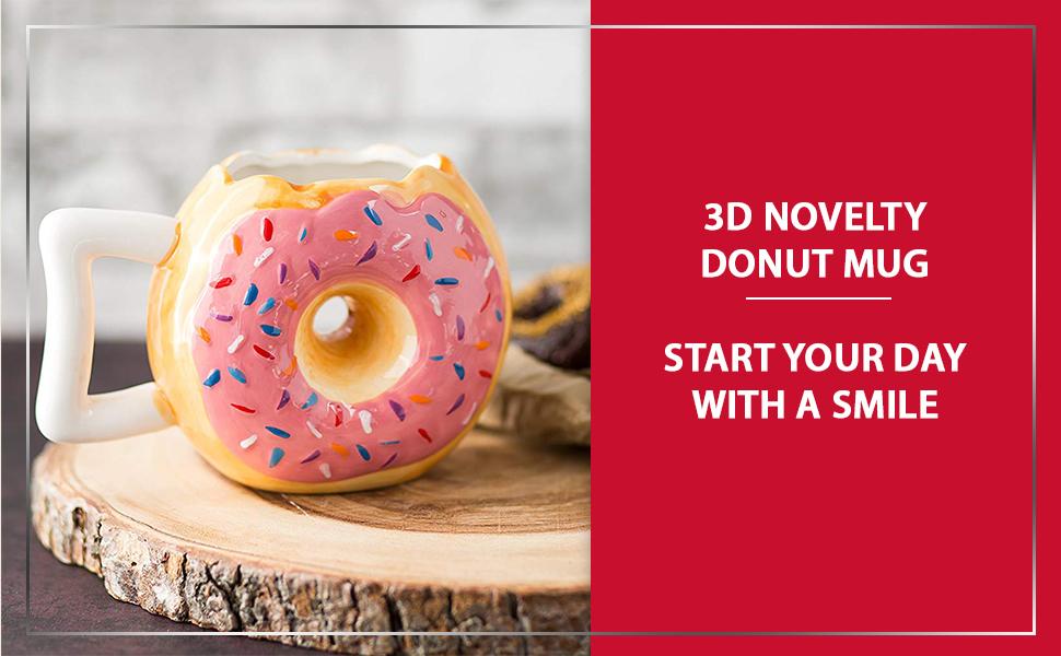 3d novelty ceramic donut mug brown