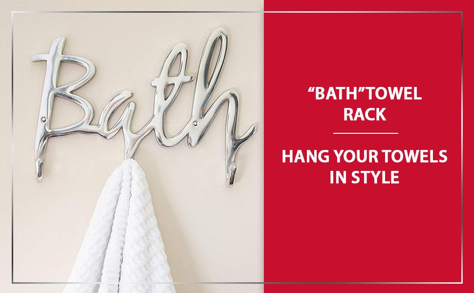 "7d0e71f8fb Amazon.com  Comfify Modern Style ""Bath"" Wall Mount Towel Holder and ..."