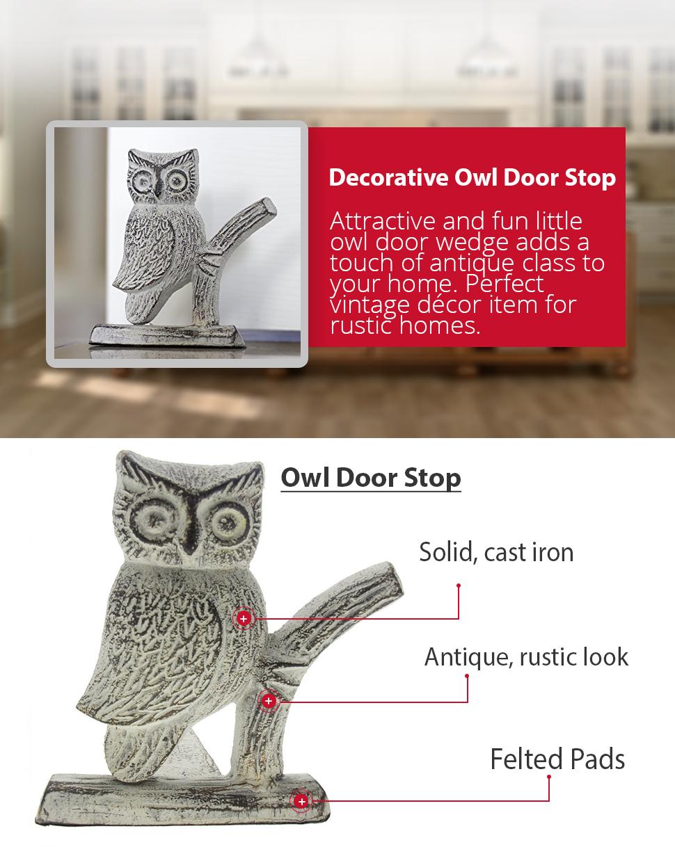 CAST IRON OWL DOOR STOP   DECORATIVE, HEAVY DUTY DOOR STOPPER WEDGE