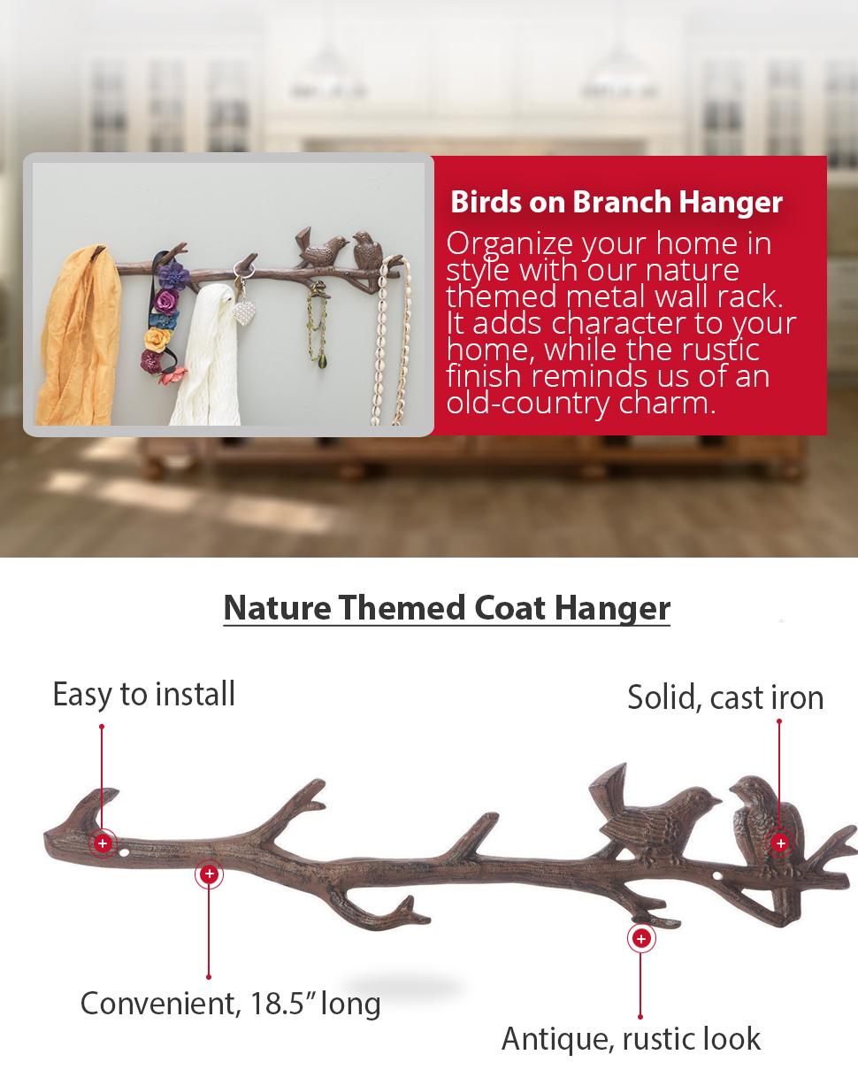 cast iron birds on a branch wall hook
