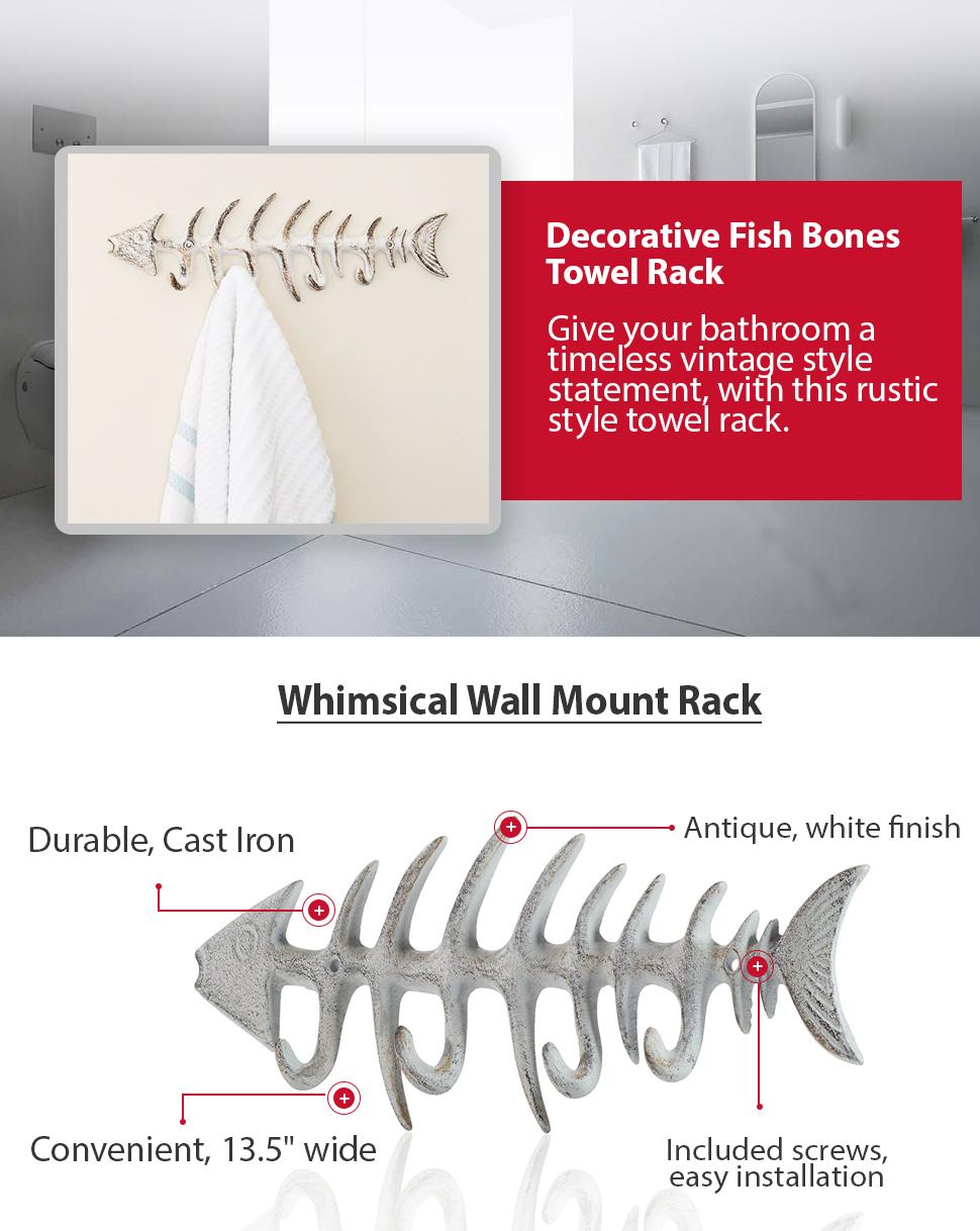 Amazon.com: Decorative Fish Bones Wall Mount Towel Rack by Comfify ...