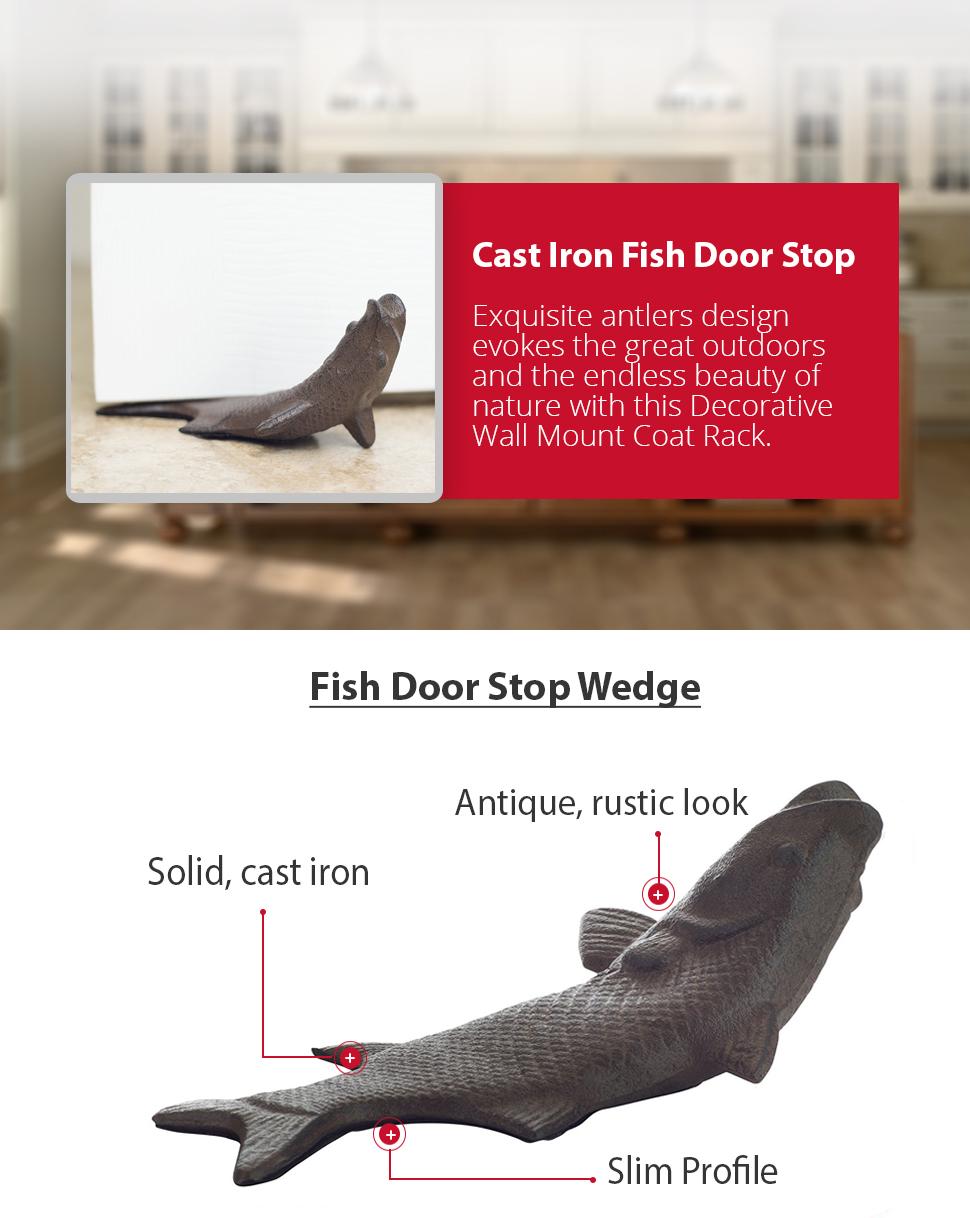 Vintage cast iron fish door stop wedge by for Fish door stop