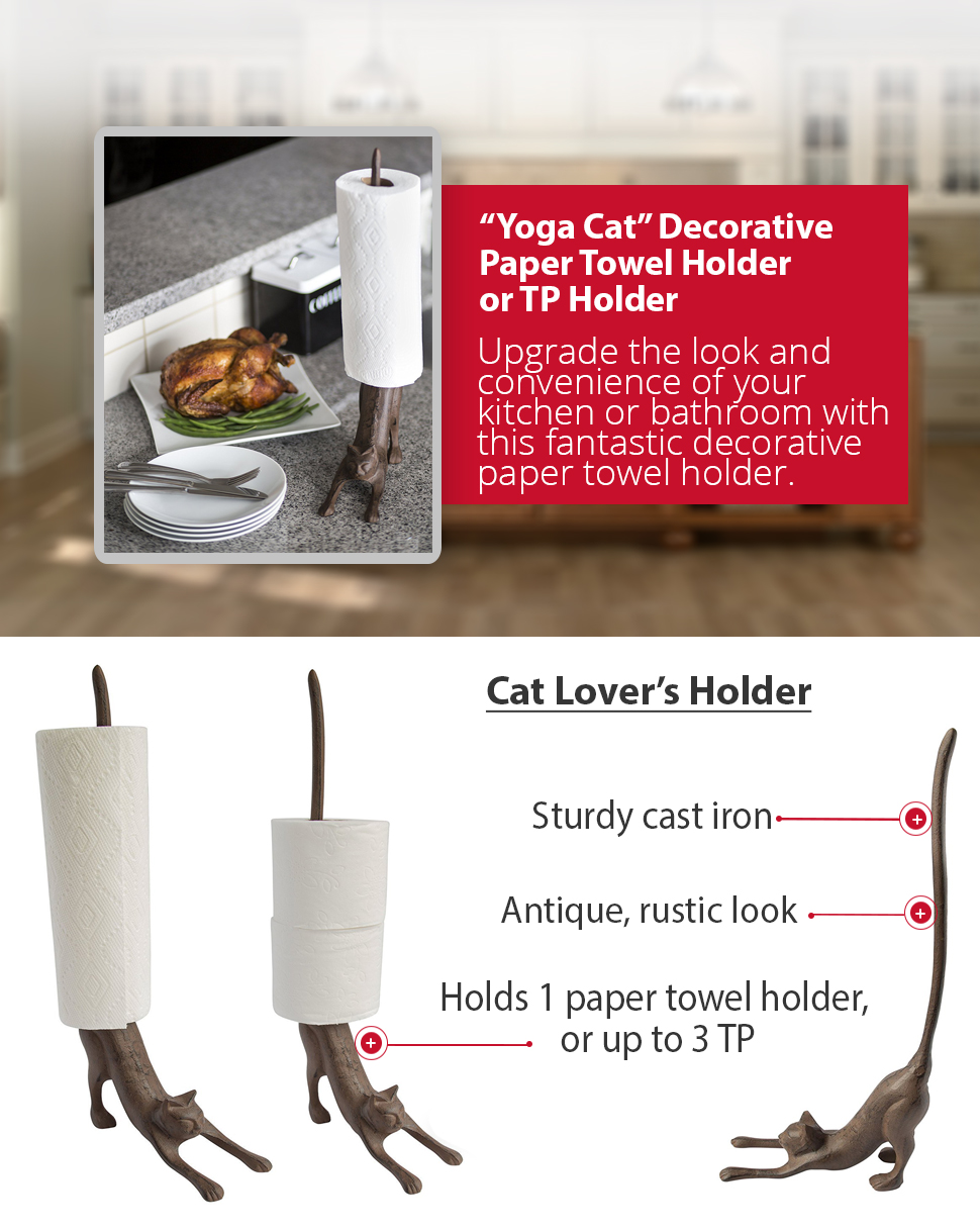 Yoga cat decorative paper towel holder or - Bathroom towel and toilet paper holders ...
