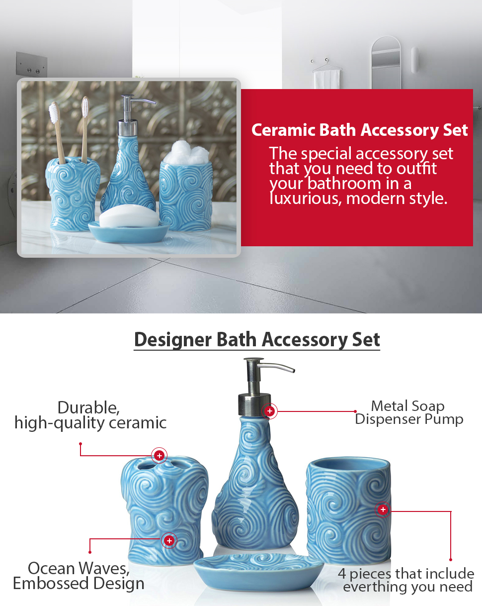Amazon.com: Designer - 4 Piece Bathroom Accessories Set - with Soap on bathroom decorating ideas ocean colors, bathroom window decorating ideas, bathroom vanity decor ideas, bathroom ocean theme home decor, bathroom romantic candles and roses, bathroom decor sets, bathroom makeover on a budget, bathroom wood ceiling ideas, bathroom vanities with makeup area,