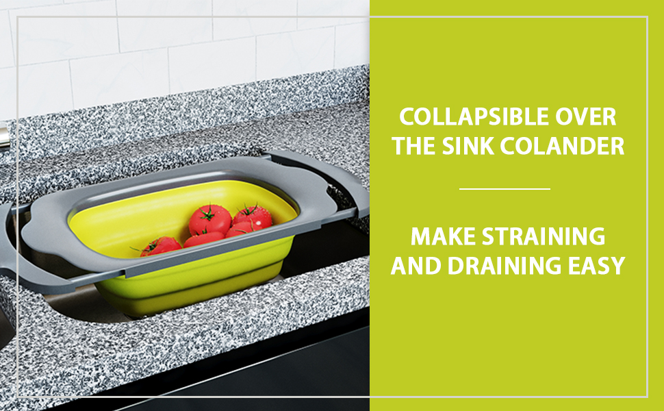 over the sink collapsible colander large green foldable strainer