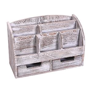 Cherry Vintage Rustic Wooden Office Desk Organizer /& Mail Rack for Desktop
