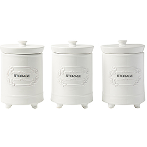 ceramic white canisters lid top kitchen counter airtight seal large oz ounces french decorative