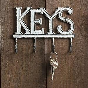 cast iron key holder decorative hooks hanger metal heavy duty letter wall mount
