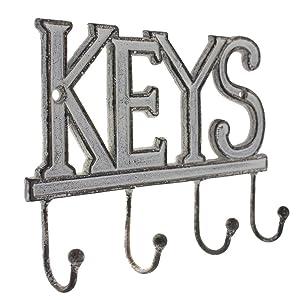 SPELLS OUT KEYS FUNTIONAL 5 KEY HOOKS ANTIQUE STYLE CASTIRON KEY HOLDER  FANCY