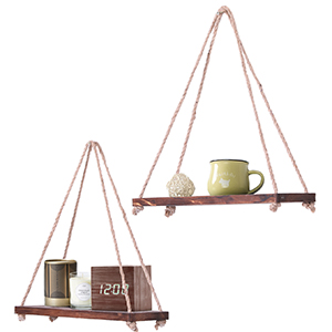 floating shelves swing string hanging shelf plant set small decorative farmhouse wooden rope for