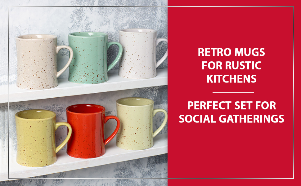 coffee mug white large colored set six 6 ceramic big office cups diner tall handle oz tasas cafe
