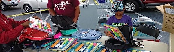 school supply drive backpack bulk pencils pens highlighters sharpie colored pencils glue kits bundle