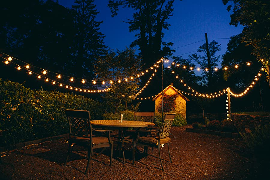 Hometown Evolution Inc. string lights are the perfect way to transform your space into a warm inviting oasis. Ideal outdoor lighting for patios decks ... & 100 Foot LED Warm White Outdoor Globe Patio String Lights - Set of ...