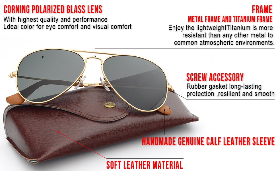 2cd6008f9de Amazon.com  Bnus corning natural glass lenses metal frame aviator ...