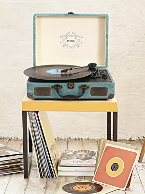 Record Player, Miric Bluetooth Turntable with 2 Built-in Speakers, Portable Size, 3-Speed, for 7/10/12inch Vinyl Records, Equipped USB/SD/AUX Port, ...