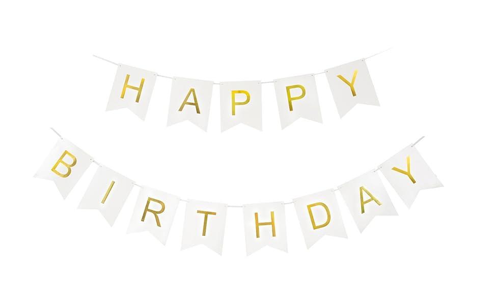 Amazon.com: Houseables feliz cumpleaños Banner (blanco ...