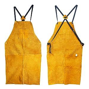 Houseables Leather Blacksmith Apron Fire Resistant Welding//Welder Smock 24 Inch