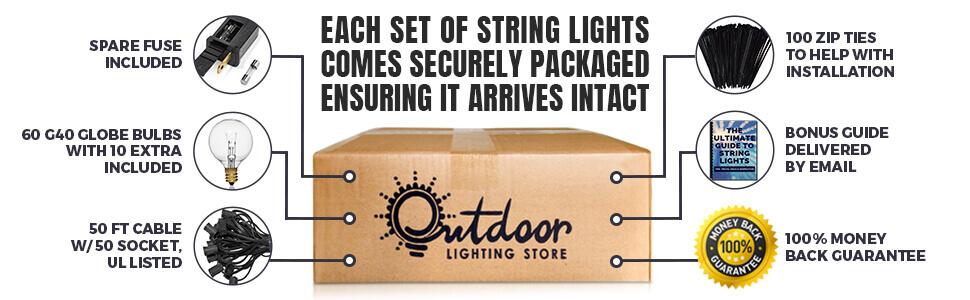 Amazon Com 50ft Black String Lights 60 G40 Globe Bulbs