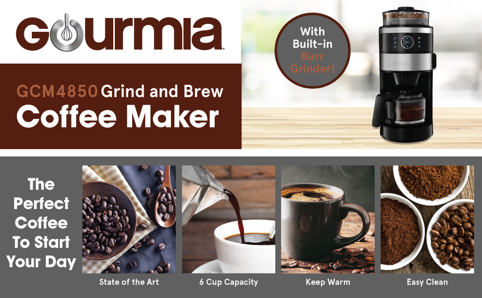 Product image and features of the Grind and Brew Coffee Maker from Gourmia.