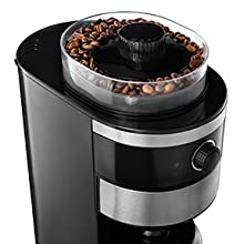 Image of coffee beans in the hopper of the Grind and Brew Coffee Maker from Gourmia.
