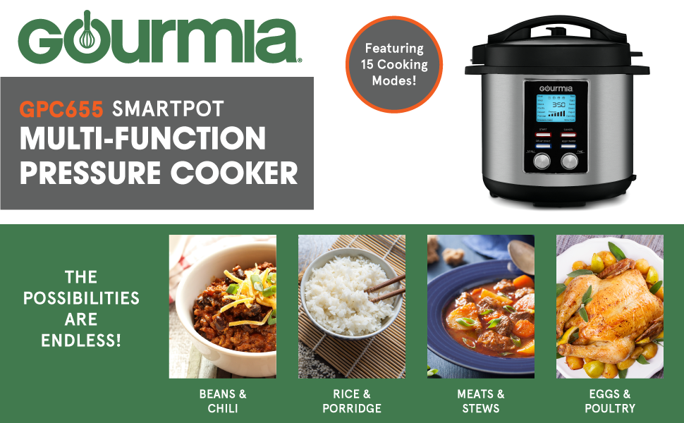 Gourmia GPC655 6 Qt Digital SmartPot Multi-Function Pressure Cooker - 15 Cook Modes - Removable Nonstick Pot - 24-Hour Delay Timer - Automatic Keep ...