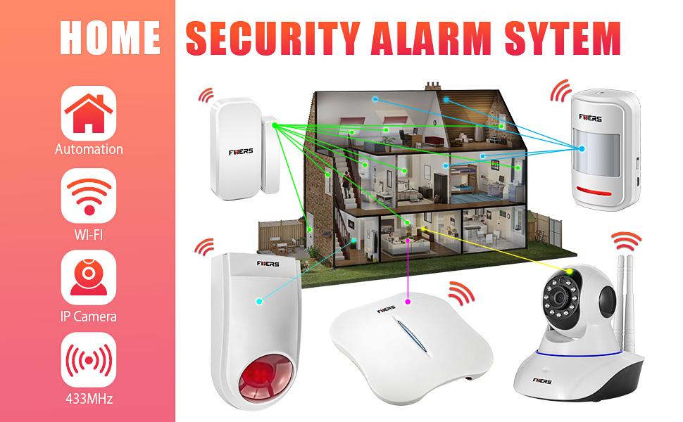 Fuers FW10 Wireless WIFI + Telephone Line Home/House Burglar Alarm System Android/IOS APP Control DIY Kit Super Strong Signal Garden Alarm + 1 PCS IP ...