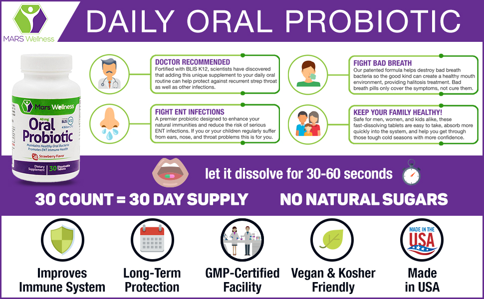 Daily Oral Probiotic Supplement w/BLIS K12 (60 Tablets) 4 Billion CFU Help  Maintain Ear, Nose,