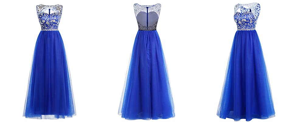 Bridesmay Long Tulle Prom Dress Illusion Beaded Evening Gown Cutout Party Dress