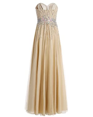 With its exquisite beads adorned on the top, this long tulle sweetheart dress is perfect for any event. It feels soft and comfortable. Wear it to your prom, ...