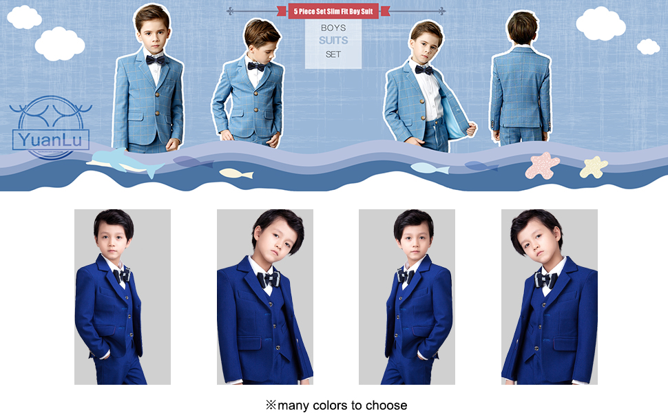 YuanLu Boys Suits 5 Piece Kids Formal Tuxedo for Boys Blazer Vest Pants Shirt and Tie Blue Size 7