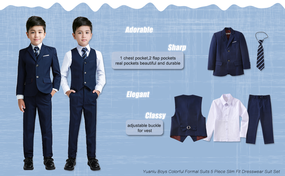 f63360654 Amazon.com: YuanLu Boys Colorful Formal Suits 5 Piece Slim Fit ...