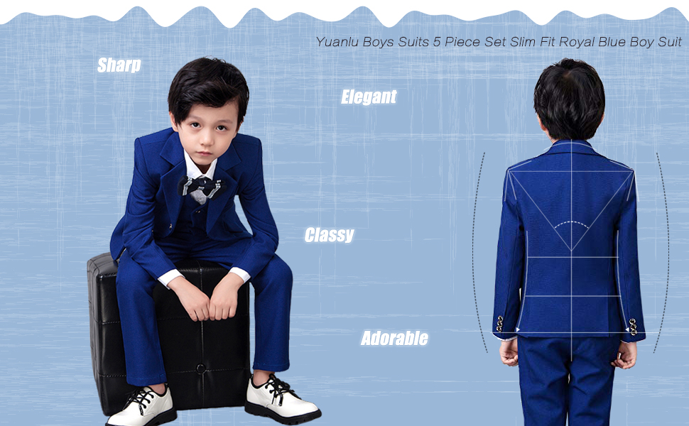 Yuanlu Boys Suits Slim Fit Dress Clothes Toddler Ring Bearer Outfit