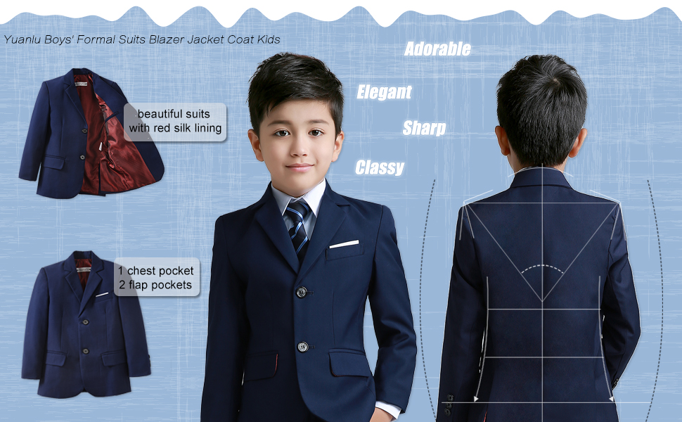 81fd4c71a7b1 Amazon.com  YuanLu Boys  Formal Suits Blazer Jacket Coat for Kids ...
