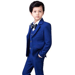 YuanLu Boys Suits 5 Piece Set Slim Fit Royal Blue Boy Suit