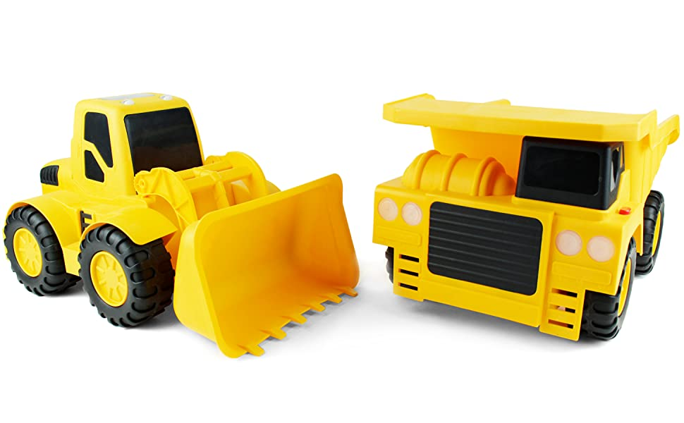 a massive set of kids jumbo toy cars, monster construction dump truck and bulldozer loader, is shown