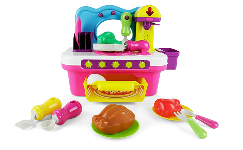 Utensils Plates Boys and Girls Beginner Play Kitchen Set for Toddlers and Children and More! Includes Oven Boley My First Kitchen Playset
