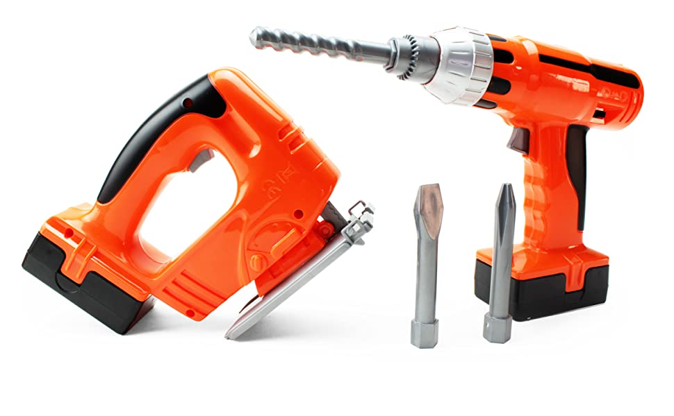 a motorized battery-operated power drill with extra drill bits and hand saw are ready to do work