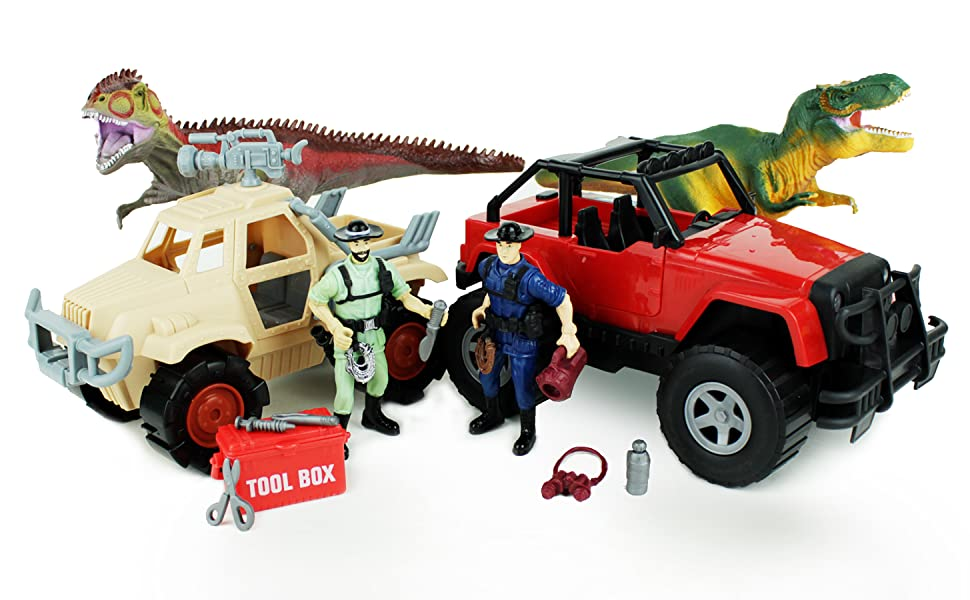 Two massive dinosaurs chase two safari rangers, who have jeeps, tools, and gear to film the dinos